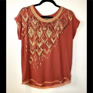 NWT MISS ME CROCHET LACE & BEADS BLOUSE